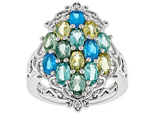 Photo of Pre-Owned 2.60ctw oval mixed color apatite with .03ctw white zircon rhodium over sterling silver rin - Size 6