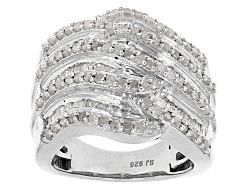 Photo of Pre-Owned 1.60ctw Round And Baguette White Diamond Rhodium Over Sterling Silver Crossover Ring - Size 7