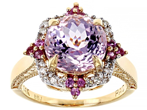 Photo of Pre-Owned Park Avenue Collection® Pink Kunzite, Pink Sapphire & White Diamond 14k Yellow Gold Ring 4 - Size 7