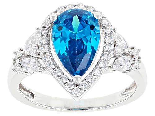 Photo of Pre-Owned Bella Luce ® Esotica™ 4.72ctw Neon Apatite and White Diamond Simulants Rhodium Over Silver - Size 12