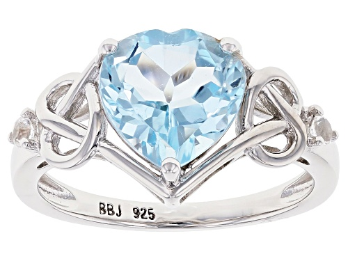 Photo of Pre-Owned 2.66ct Heart-Shaped Glacier Topaz With 0.06ctw Round White Topaz Rhodium Over Sterling Sil - Size 8