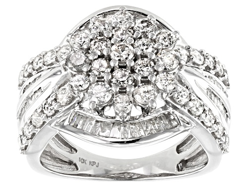Photo of Pre-Owned 2.00ctw Round And Baguette White Diamond 10K White Gold Ring - Size 8