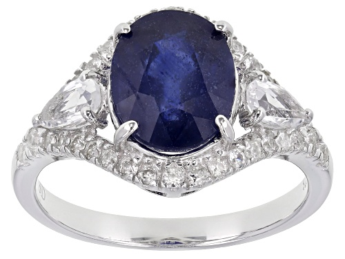 Photo of Pre-Owned 4.05ct Blue Mahaleo® Sapphire with 0.92ctw White Zircon Rhodium Over Sterling Silver Ring - Size 7