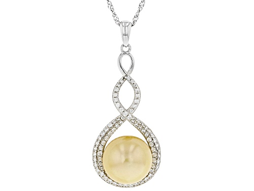 Photo of Pre-Owned 11-12mm Golden Cultured South Sea Pearl & White Zircon Rhodium Over Sterling Silver Pendan