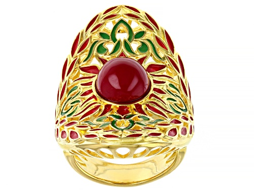Photo of Pre-Owned Artisan Collection Of Morocco™ Ruby Simulant And  Multi-Color Enamel 18k Gold Over Silver - Size 7