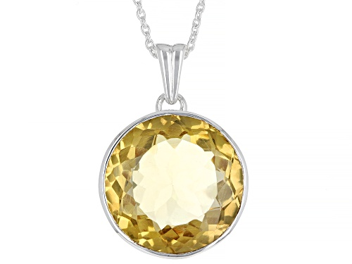 Photo of Pre-Owned 18.00ct Round Golden Citrine Solitaire, Sterling Silver Pendant With Chain
