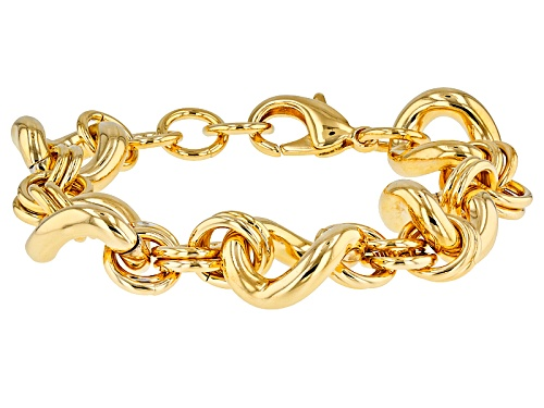 Photo of Pre-Owned Moda Al Massimo® 18k Yellow Gold Over Bronze Designer Twisted Curb 7 Inch Bracelet - Size 7