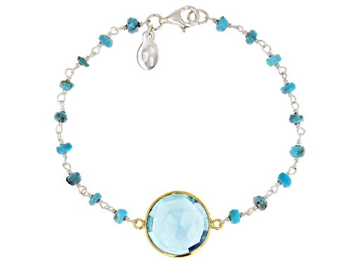 Photo of Pre-Owned Tehya Oyama Turquoise™  Kingman Turquoise With Blue Glass, Silver & 18K Gold Over Silver B - Size 7.5