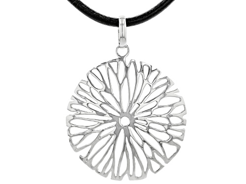 Photo of Pre-Owned Pacific Style™  Rhodium Over Silver Flower Design Pendant With Imitation Leather Cord Neck - Size 18