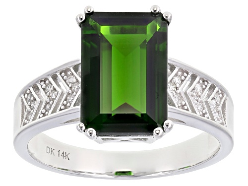 Photo of Pre-Owned 3.66ct Emerald Cut Chrome Diopside & .08ctw White Diamond Accent Rhodium Over 14k White Go - Size 8