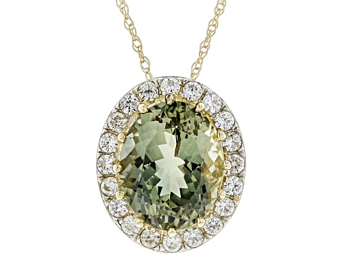 Photo of Pre-Owned 2.50ct oval green Oregon sunstone and .29ctw white zircon 10K yellow gold slide with chain