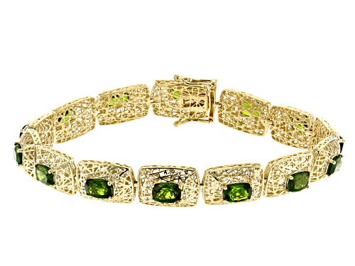 Pre-Owned 6.39ctw Rectangular Cushion Russian Chrome Diopside 10k Yellow Gold Bracelet - Size 7.25