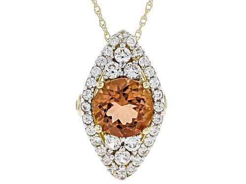 Photo of Pre-Owned 1.10ct round Orange Oregon sunstone with .73ctw round white zircon 10K yellow gold slide w