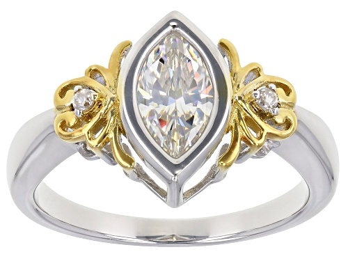 Photo of Pre-Owned 1.25CT FABULITE STRONTIUM TITANATE & ZIRCON RHODIUM & 18K YELLOW GOLD OVER SILVER RING - Size 7