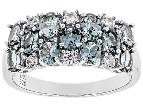 Photo of Pre-Owned 1.78ctw Oval Gray Spinel With .20ctw Round White Zircon Rhodium Over Sterling Silver Band - Size 6