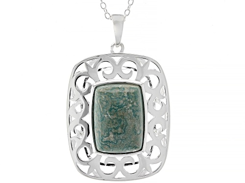 Photo of Pre-Owned Tehya Oyama Turquoise™ 14x10mm Square Cushion Green Kingman Turquoise Silver Pendant With