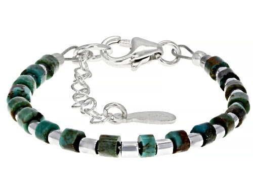 Pre-Owned  Green Kingman Turquoise  Sterling Silver Baby Bracelet - Size 4