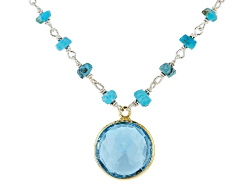 Photo of Pre-Owned Tehya Oyama Turquoise™  Kingman Turquoise With Blue Glass, Silver & 18K Gold Over Silver N - Size 18