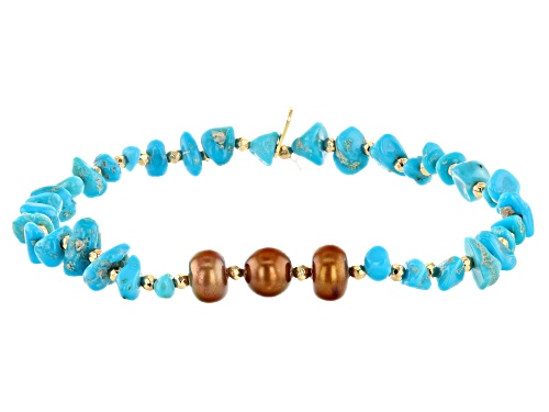 Photo of Pre-Owned Tehya Oyama Turquoise™ Kingman Turquoise, Cultured Freshwater Pearl & Hematine Stretch Bra