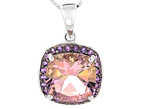 Photo of Pre-Owned 5.39ct Square Cushion Bolivian Ametrine And .28ctw Round African Amethyst Silver Pendant W