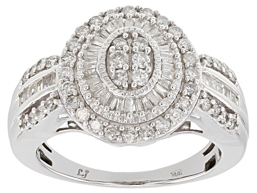 Photo of Pre-Owned 1.00ctw Round and Baguette White Diamond 10k White Gold Ring - Size 7