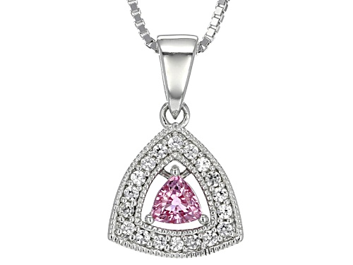 Photo of Pre-Owned .25ct Trillion Pink Sapphire With .13ctw Round White Zircon Sterling Silver Pendant With C