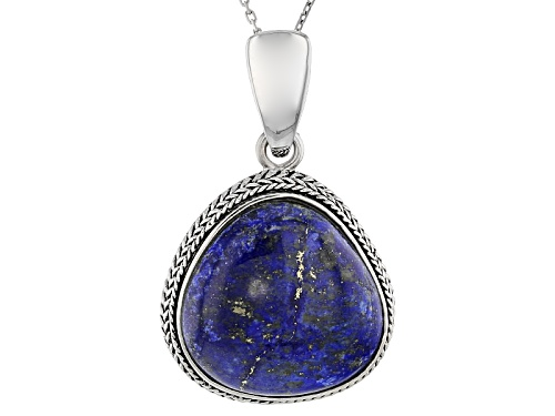 Photo of Pre-Owned 20.5 X 20.0mm Trillion Lapis Lazuli Sterling Silver Enhancer With Chain