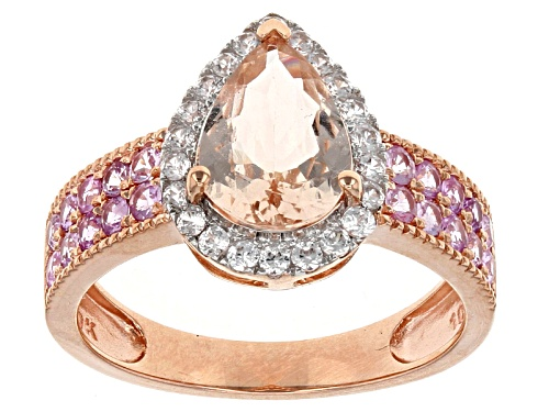 Photo of 1.75ct Cor-De-Rosa Morganite™ With .20ctw Pink Sapphire & .14ctw White Zircon 10k Rose Gold Ring - Size 8