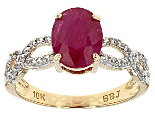 Photo of 1.91ct Oval Mozambique Ruby With .21ctw Round White Zircon 10k Yellow Gold Ring. - Size 8