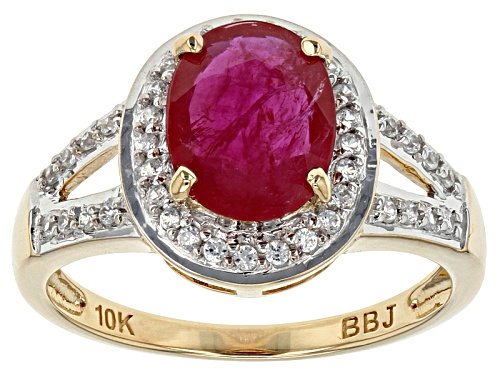 Photo of 1.54ct Oval Mozambique Ruby With .23ctw Round White Zircon 10k Yellow Gold Ring. - Size 8