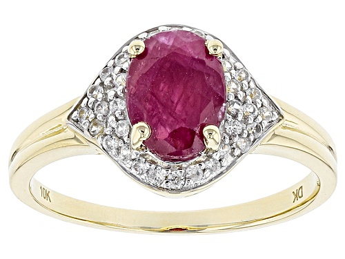 Photo of 1.28ct Oval Mozambique Ruby With .25ctw Round White Zircon 10k Yellow Gold Ring. - Size 8
