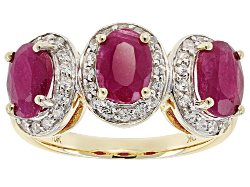 Photo of 2.19ctw Oval Mozambique Ruby With .45ctw Round White Zircon 10k Yellow Gold 3-Stone Ring. - Size 6
