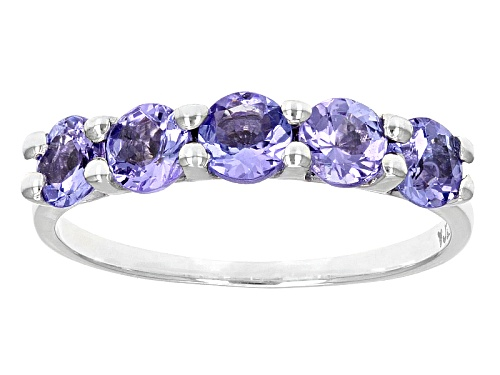 Photo of 1.10ctw Round Tanzanite Rhodium Over 10k White Gold 5-Stone Band Ring. - Size 6