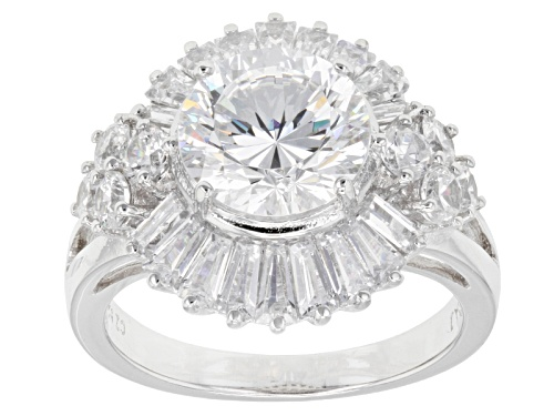 Photo of Pre-Owned Bella Luce ® Dillenium Cut 7.59ctw Rhodium Over Sterling Silver Ring (4.73ctw Dew) - Size 8