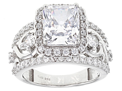 Photo of Pre-Owned Bella Luce ® 8.03ctw White Diamond Simulant Rhodium Over Sterling Silver Ring (5.06ctw Dew - Size 10