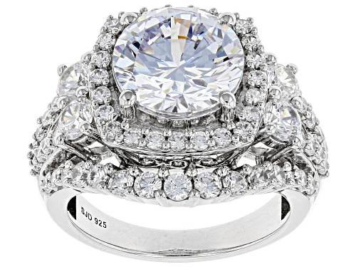 Photo of Pre-Owned Bella Luce ® 10.40ctw Rhodium Over Sterling Silver Ring (5.87ctw DEW) - Size 7