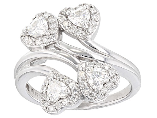 Photo of Pre-Owned Moissanite Fire® 1.44ctw Dew Heart Shape And Round Platineve™ Ring - Size 6