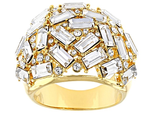 Photo of Pre-Owned Off Park ® Collection, Mixed Shape Clear Crystal Gold Tone Statement Ring - Size 6