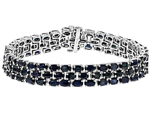 Photo of Pre-Owned 33.50CTW OVAL BLUE SAPPHIRE RHODIUM OVER STERLING SILVER MULTI ROW BRACELET - Size 8