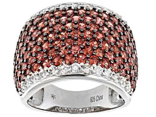 Photo of Pre-Owned 4ctw Round Red Garnet With 0.75ctw Round White Zircon Rhodium Over Sterling Silver Ring - Size 7