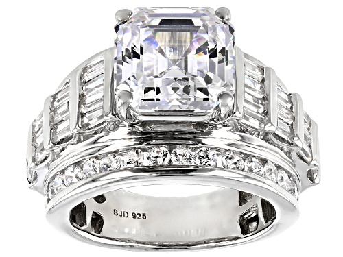 Photo of Pre-Owned Bella Luce ® 12.85ctw White Diamond Simulant Asscher Cut Rhodium Over Sterling Ring (8.02c - Size 6