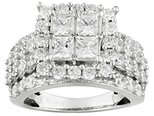 Photo of Pre-Owned Bella Luce ® 3.40ctw Princess And Round Rhodium Over Sterling Silver Ring - Size 6