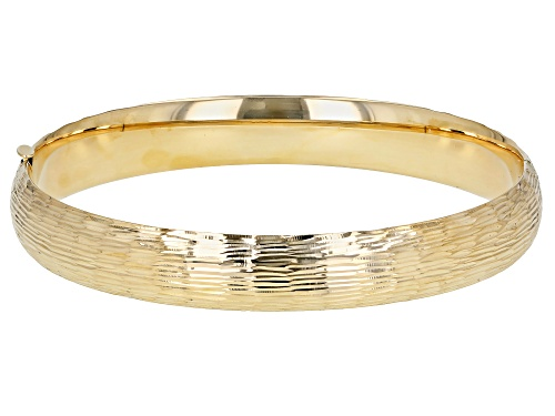 Pre-Owned 14K Yellow Gold Lined Cut Design Hinged Bracelet 7 Inches - Size 7.5