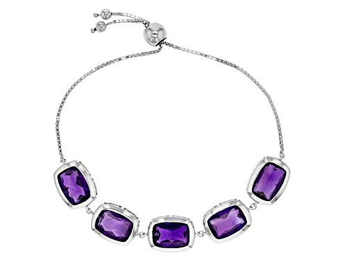 Photo of Pre-Owned 26.84ctw Rectangular Cushion African Amethyst Silver Bolo Bracelet Adjusts Approximately 6 - Size 7.25