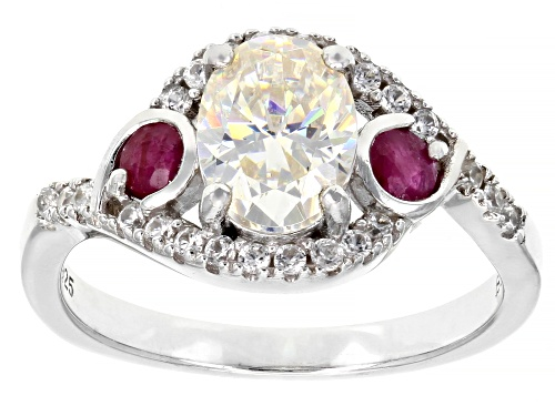 Photo of Pre-Owned 1.75CT FABULITE STRONTIUM TITANATE &  .30CTW MOZAMBIQUE RUBY & .22CTW ZIRCON  SILVER RING - Size 8
