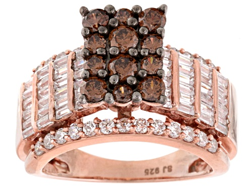 Photo of Pre-Owned Bella Luce ® 4.36ctw Champagne & White Diamond Simulant Eterno ™ Rose Ring (2.99ctw Dew) - Size 7