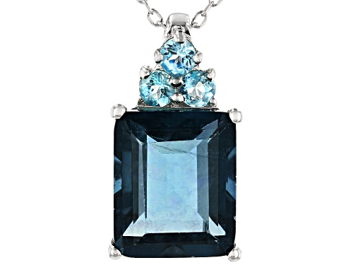 Photo of Pre-Owned 6.18CT EMERALD CUT TEAL FLUORITE & .31CTW BLUE APATITE RHODIUM OVER SILVER PENDANT WITH CH