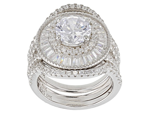 Photo of Pre-Owned Bella Luce ® 7.36CTW White Diamond Simulant Rhodium Over Sterling Silver Ring (4.07CTW DEW - Size 9