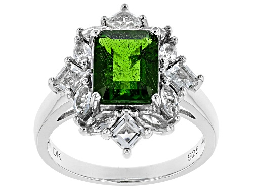 Photo of Pre-Owned 1.87ct Emerald Cut Chrome Diopside With 1.29ctw White Topaz Rhodium Over Silver Halo Ring - Size 8
