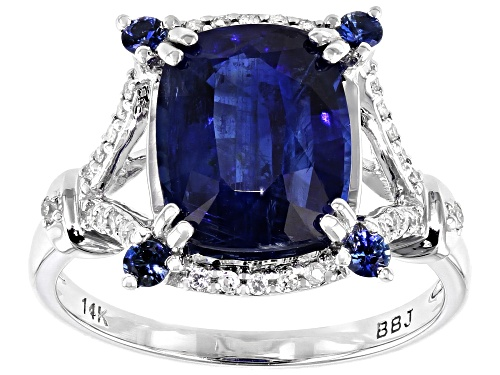 Photo of Pre-Owned 3.95ct Blue Kyanite, .15ctw Blue Sapphire & .15ctw White Diamonds Rhodium Over 14k White G - Size 8